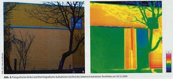 Geheizte WDVS-Fassade mit Elektro-Heizdraht-Temperierung und Thermografie Wärmebild Heated ETICS - External Thermal Insulation Composite Systems External Wall Insulation Thermal Insulation Coating System