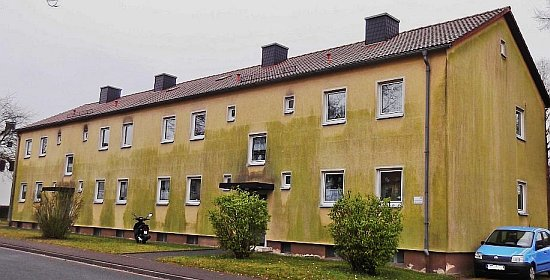 Wärmedämmverbundsystem mit Algenbefall / Grünalgen / Schwarzalgen / Leopardeffekt Green Algue & Rotten Damp Wet ETICS - External Thermal Insulation Composite Systems / External Wall Insulation EWI EIFS - Exterior Insulation Finish System