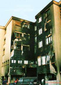 Fire catastrophe by inflammable thermal insulation (polystyrene)