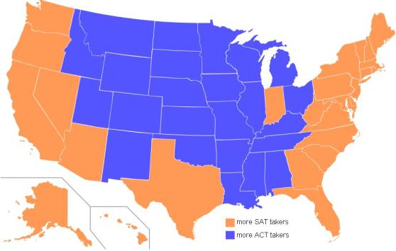 American School System: Map of states according to preferred exam of 2006 high school graduates