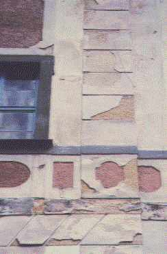 Whole front damaged - by modern painting of silicate
